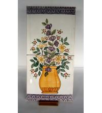 Pannello con fiori in ceramica